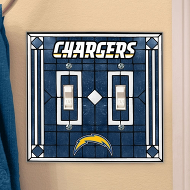 Los Angeles Chargers Art Glass Lightswitch Cover (Double)