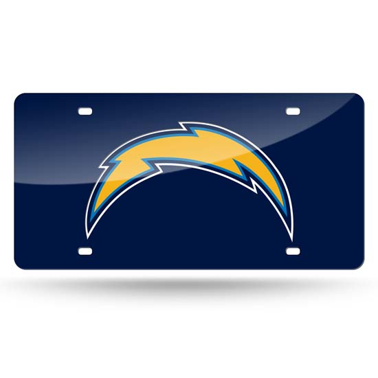 San Diego Chargers Deluxe Mirrored Laser Cut License Plate