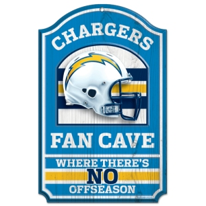 "San Diego Chargers Wood Sign - 11""x17"" Fan Cave Design"