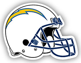 "San Diego Chargers 12"" Helmet (White) Car Magnet"