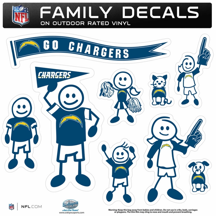 San Diego Chargers Car Decals: San Diego Chargers Large Family Decal Set (F