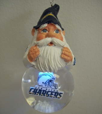 San Diego Chargers Light Up Gnome Snow Globe Ornament