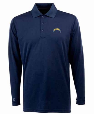 San Diego Chargers Mens Long Sleeve Polo Shirt (Color: Navy) - Large