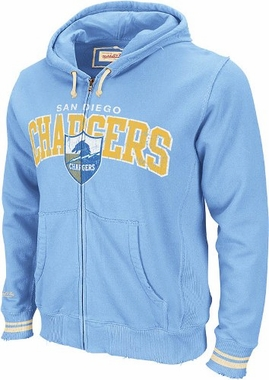 San Diego Chargers Mitchell & Ness Vintage Full Zip Hooded Sweatshirt