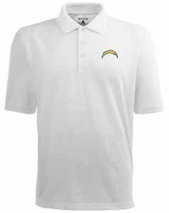 San Diego Chargers Mens Pique Xtra Lite Polo Shirt (Color: White) - Medium