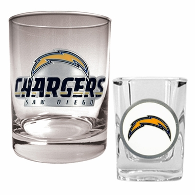 San Diego Chargers Rocks and Shot Glass Set
