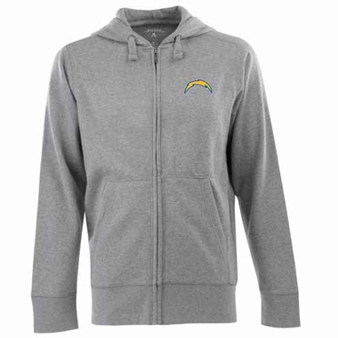 San Diego Chargers Mens Signature Full Zip Hooded Sweatshirt (Color: Gray)