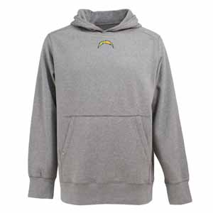 San Diego Chargers Mens Signature Hooded Sweatshirt (Color: Gray) - Large