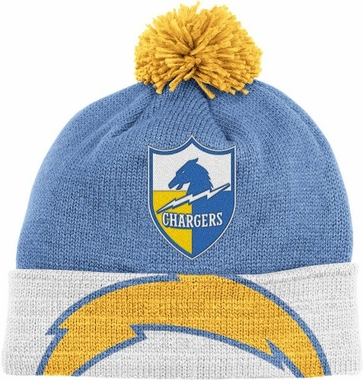 San Diego Chargers Throwback Jersey Stripe Cuffed Knit Hat w/ Pom