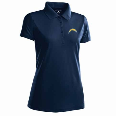 San Diego Chargers Womens Pique Xtra Lite Polo Shirt (Color: Navy)