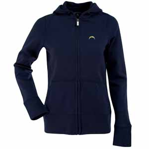 San Diego Chargers Womens Zip Front Hoody Sweatshirt (Color: Navy) - Medium