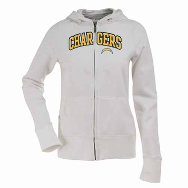 San Diego Chargers Womens Applique Zip Front Hoody Sweatshirt (Color: White)