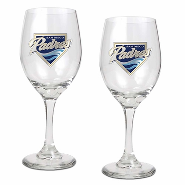 San Diego Padres 2 Piece Wine Glass Set