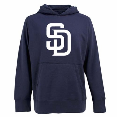 San Diego Padres Mens Big Logo Signature Hooded Sweatshirt (Color: Navy)