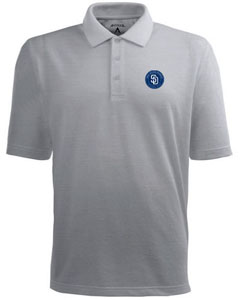 San Diego Padres Mens Pique Xtra Lite Polo Shirt (Color: Silver) - X-Large