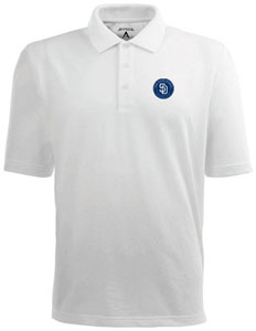 San Diego Padres Mens Pique Xtra Lite Polo Shirt (Color: White) - X-Large