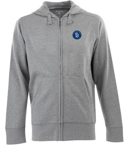 San Diego Padres Mens Signature Full Zip Hooded Sweatshirt (Color: Gray) - Large