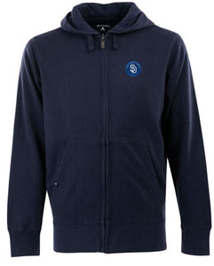 San Diego Padres Mens Signature Full Zip Hooded Sweatshirt (Color: Navy) - X-Large