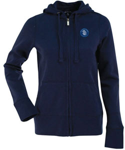 San Diego Padres Womens Zip Front Hoody Sweatshirt (Color: Navy) - Medium