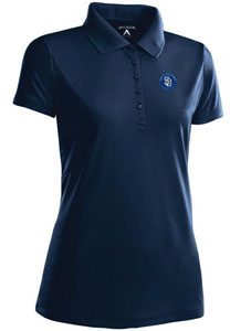 San Diego Pardes Womens Pique Xtra Lite Polo Shirt (Color: Navy) - Large