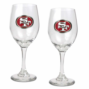 San Francisco 49ers 2 Piece Wine Glass Set