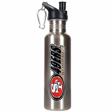 San Francisco 49ers 26oz Stainless Steel Water Bottle (Silver)