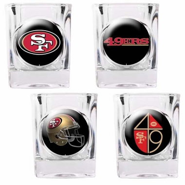 San Francisco 49ers 4 Piece Assorted Shot Glass Set