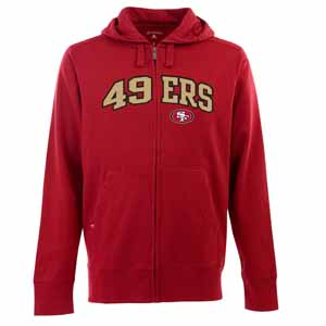 San Francisco 49ers Mens Applique Full Zip Hooded Sweatshirt (Color: Red) - X-Large