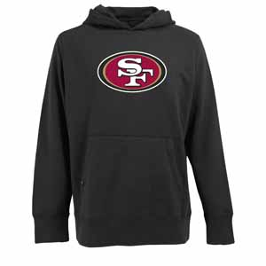 San Francisco 49ers Mens Big Logo Signature Hooded Sweatshirt (Color: Black) - XXX-Large