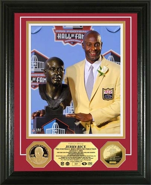 San Francisco 49ers Jerry Rice HOF Induction Ceremony 24KT Gold Coin Photo Mint