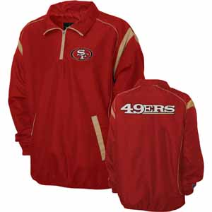 San Francisco 49ers NFL Red Zone 1/4 Zip Red Jacket - Large