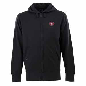 San Francisco 49ers Mens Signature Full Zip Hooded Sweatshirt (Color: Black) - Small