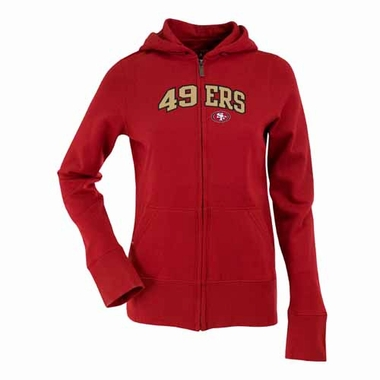 San Francisco 49ers Womens Applique Zip Front Hoody Sweatshirt (Color: Red)