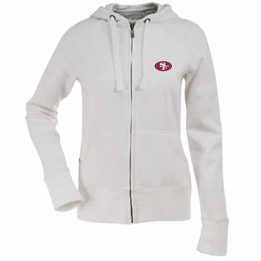San Francisco 49ers Womens Zip Front Hoody Sweatshirt (Color: White)