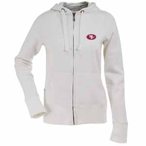 San Francisco 49ers Womens Zip Front Hoody Sweatshirt (Color: White) - Small