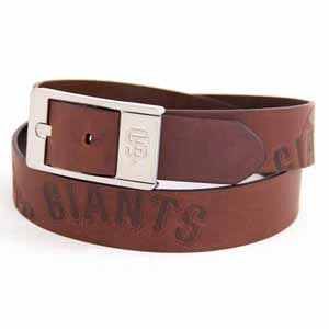 San Francisco Giants Brown Leather Brandished Belt - Size 44 (For 42 Inch Waist)