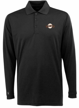 San Francisco Giants Mens Long Sleeve Polo Shirt (Color: Black)