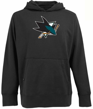 San Jose Sharks Big Logo Mens Signature Hooded Sweatshirt (Color: Black)