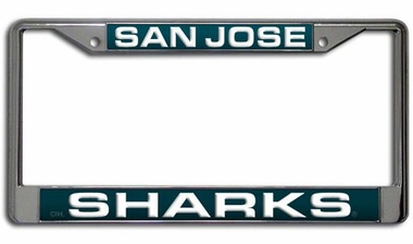 San Jose Sharks Laser Etched Chrome License Plate Frame