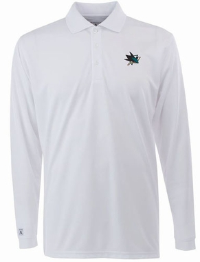 San Jose Sharks Mens Long Sleeve Polo Shirt (Color: White)
