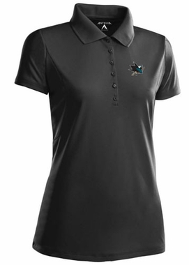 San Jose Sharks Womens Pique Xtra Lite Polo Shirt (Color: Black)