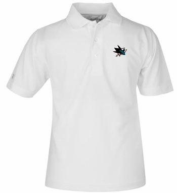 San Jose Sharks YOUTH Unisex Pique Polo Shirt (Color: White)