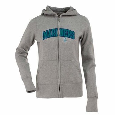 Seattle Mariners Applique Womens Zip Front Hoody Sweatshirt (Color: Gray)