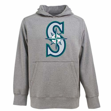 Seattle Mariners Big Logo Mens Signature Hooded Sweatshirt (Color: Gray)