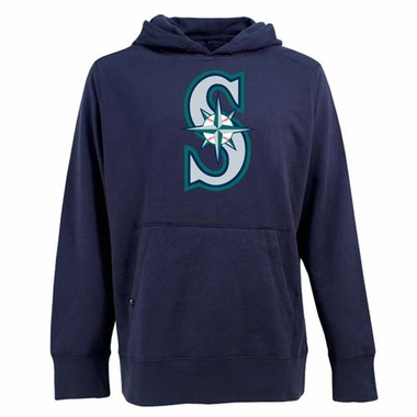 Seattle Mariners Big Logo Mens Signature Hooded Sweatshirt (Color: Navy)