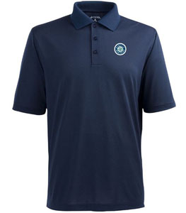 Seattle Mariners Mens Pique Xtra Lite Polo Shirt (Color: Navy) - Large