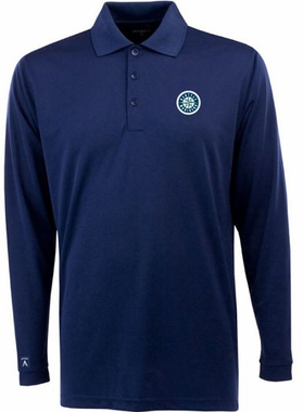 Seattle Mariners Mens Long Sleeve Polo Shirt (Color: Navy)