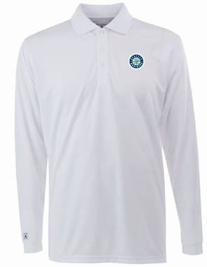 Seattle Mariners Mens Long Sleeve Polo Shirt (Color: White)