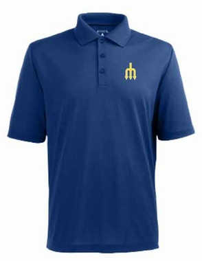 Seattle Mariners Mens Pique Xtra Lite Polo Shirt (Cooperstown) (Color: Blue)