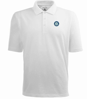 Seattle Mariners Mens Pique Xtra Lite Polo Shirt (Color: White)